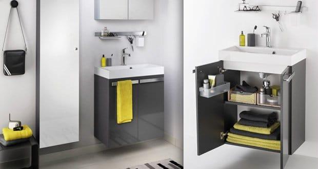 Delphy Studio : meuble avec plan-vasque gelcoaté + armoire + applique Led