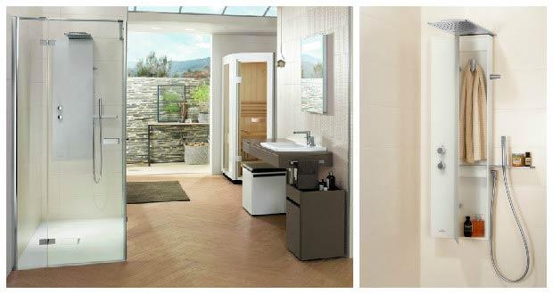 colonne de douche vivia de villeroy boch on y range. Black Bedroom Furniture Sets. Home Design Ideas