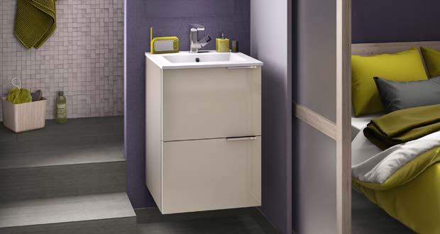 Kub de delpha un meuble vasque ultra compact sdbpro for Meuble vasque gain de place