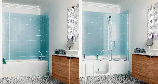 Douche bain duo de kinedo adapt e toute la famille sdbpro - Bain et douche combine ...