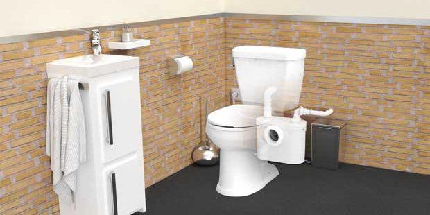 poser un WC boyeur : photo d'un WC broyeur installé dans la salle de bains