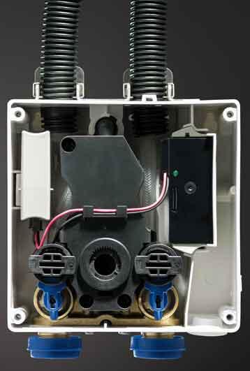 le boitier des éléments de commande de la robinetterie électronique Brenta et Piave de Geberit