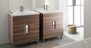 Salle de bains avec les meubles vasques Prima d'Allia en finition bois foncé