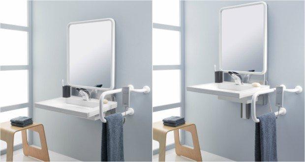 Ambiance avec le lavabo à hauteur réglable Pellet ASC, en positions haute et basse