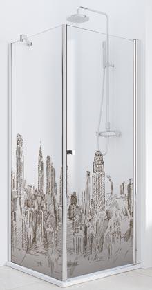 Dessin de gratte-ciel sur une paroi de douche Imagik de Profiltek