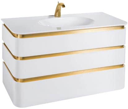 Le meuble Mont-Blanc de Decotec est présenté en blanc brillant illuminé par des lignes dorées
