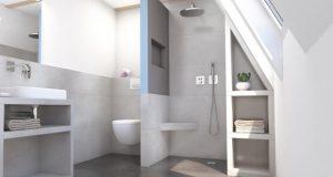 Ambiance de salle de bains avec une douche cloisonnée avec un panneau Wedi Sanwell