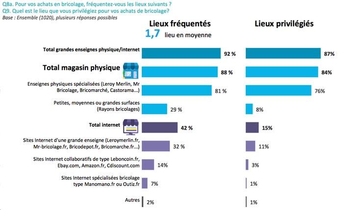 Les bricoleurs et Internet : Lieux d'achat fréquentés et privilégiés