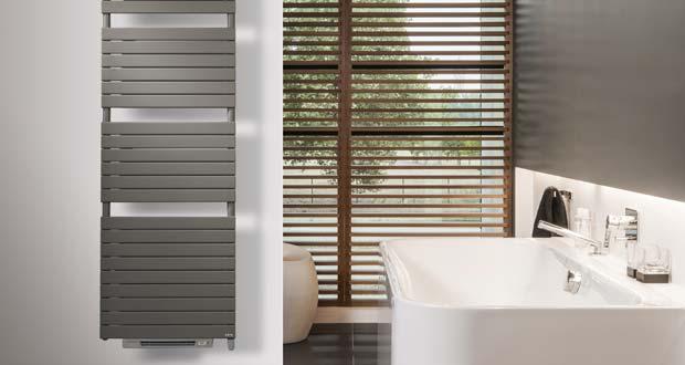 Ambiance avec le sèche-serviettes Aster avec soufflant installé près d'une baignoire