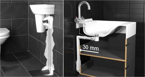 Evacuations d'un lavabo et d'une vasque réalisées avec Slim System Easy Drain
