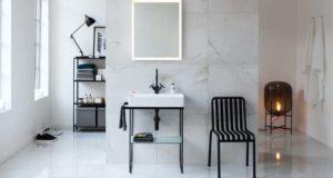 Ambiance salle de bains avec le lavabo sur piétement métal Durasquare de Duravit