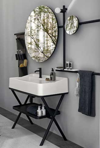 Lavabo surmonté d'un miroir rond accessoirisé, Cielo