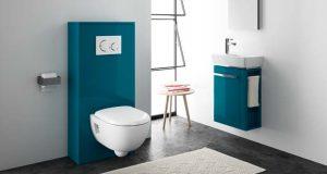 Habillage WC suspendu Geberit, couleur bleu