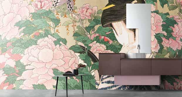 Papier peint waterproof salle de bain, Arblu décor japonisant