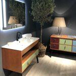 La salle de bains au Cersaie 2018 : Meuble-vasque GaÏa style 1950.