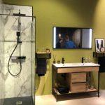 La salle de bains au Cersaie 2018 : Meuble console Vinci de Salgar.
