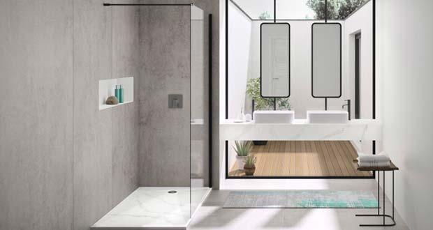 Dekton et Silestone : matières à effet industriel dans la salle de bains