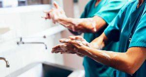 description norme NF 077 MM Milieu Médical, hygiène des mains au bloc opératoire.