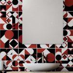 Carrelage tendance géométrie : en noir, blanc et rouge.