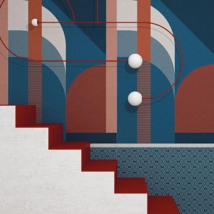 Carrelage tendance géométrique, collection Operae de Ornamenta, aux couleurs sourdes