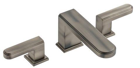mélangeur de lavabo 3 trous Transatlantique de Cristal & Bronze, finition vieil étain