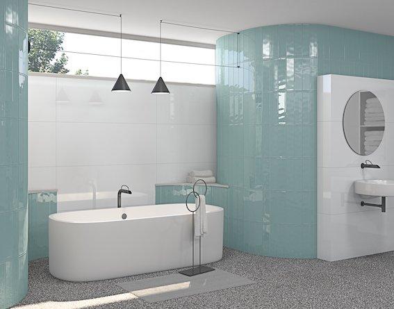 Carreaux format briquette posés à la verticale dans une salle de bains