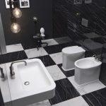 Salle-de-bains-avec-carrelage-noir-et-blanc-et-sanitaires-blanc-mat