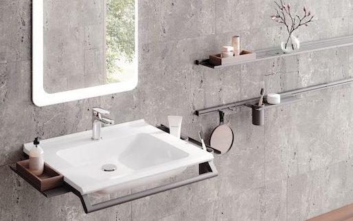 Salle de bains avec lavabo PMR Hewi