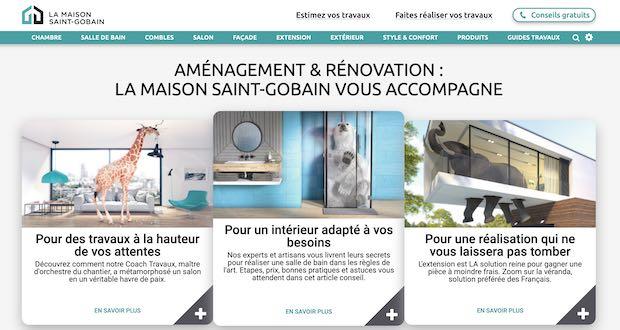 Capture d'écran du site La maison Saint-Gobain