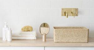 Vasque de salle de bain Woodio en bois naturel et résine