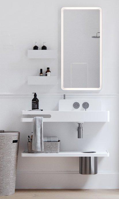 salle de bains avec point d'eau avec crédence