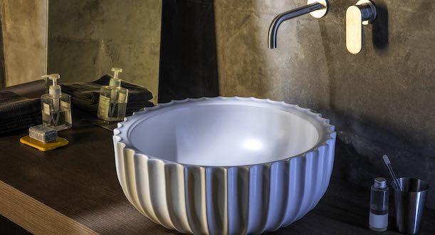 Ambiance avec la vasque Settecento de Flaminia