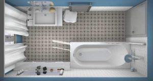Salle de bain en 3D due de dessus