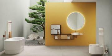 Salle de bain Voyage de VitrA, aux murs jaunes