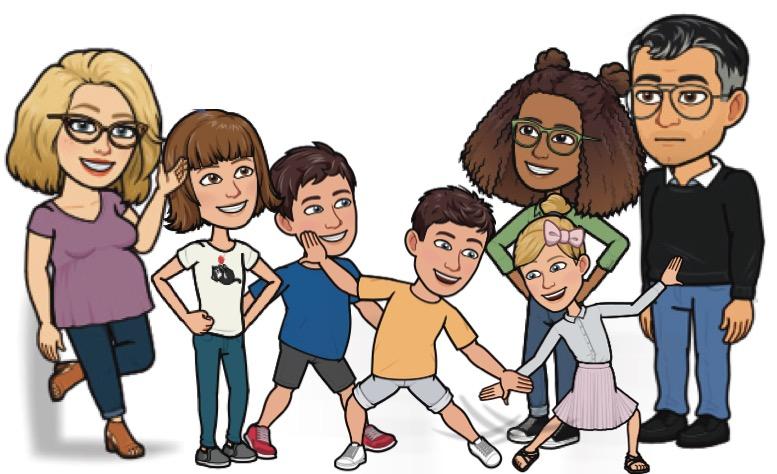 avatars d'une famille recomposée avec 5 enfants