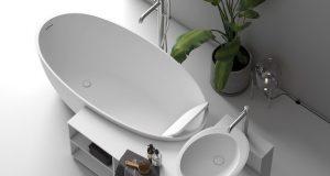 Baignoire îlot avec lavabo et meuble