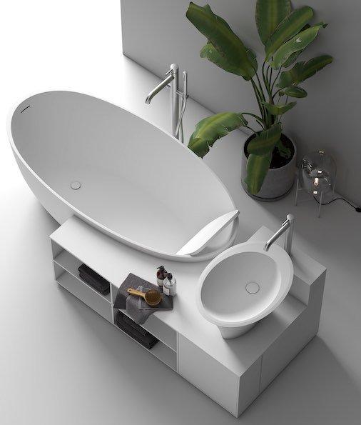 îlot baignoire, lavabo et meuble Planit