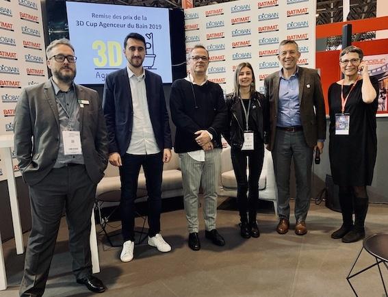 Gagnants et membre du jury de la 3D cup agenceur du bain 2019