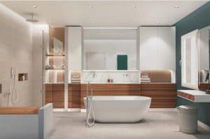 Salle de bains avec baignoire ilot et douche pour chien