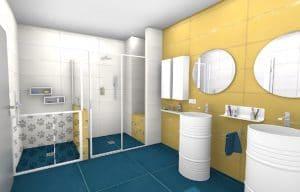 salle de bains jaune et bleue