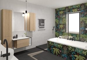 salle de bains carrelage jungle