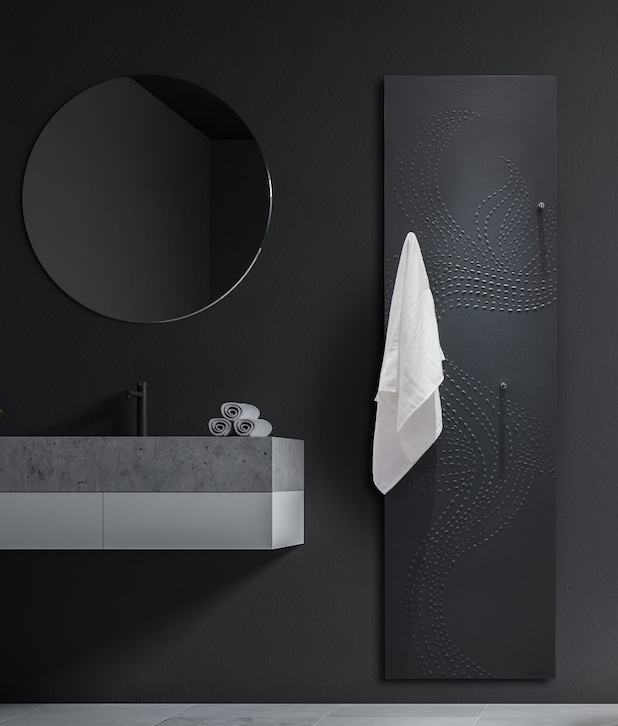 radiateur noir avec motif en relief