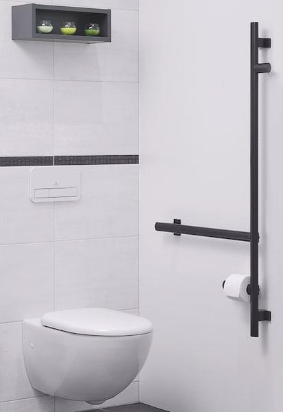 barre d'appui en L noire pour les WC
