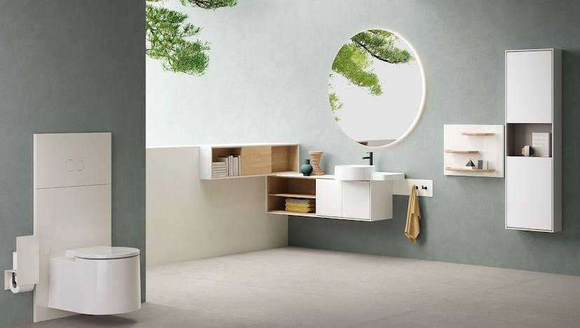 meuble de salle de bain suspendu en bois et façades blanches