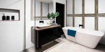 salle de bain avec baignoire ilot et panneaux muraux décoratifs