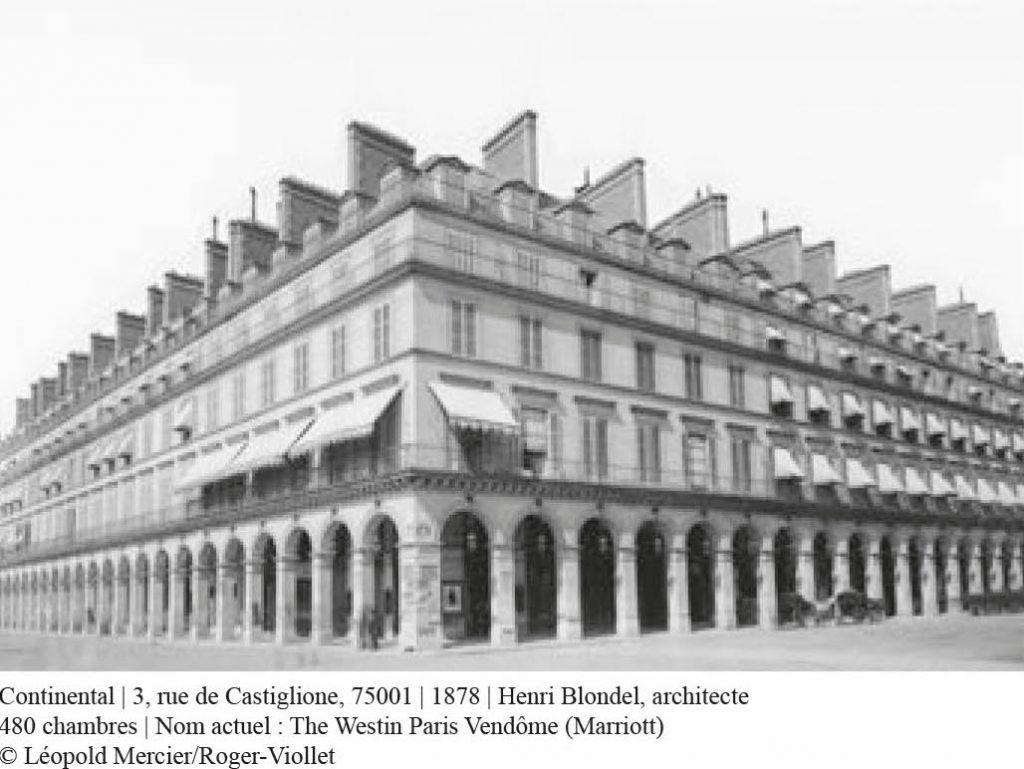 Carte postale de l'hôtel Continental en 1878 paris