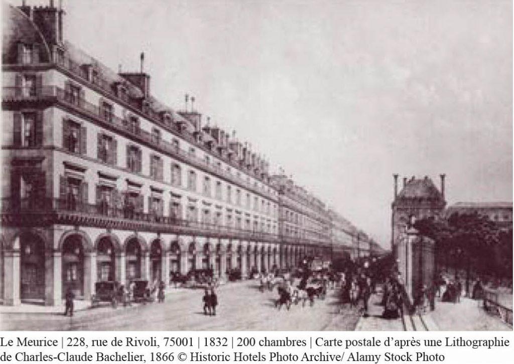 carte postale de l'hôtel meurice en 1832