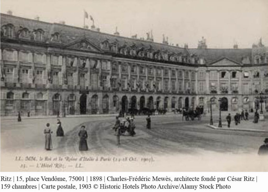 carte postale de l'hôtel Ritz paris 1898