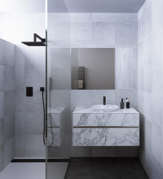 meuble karma de decotec avec façades en grès cérame façon marbre blanc