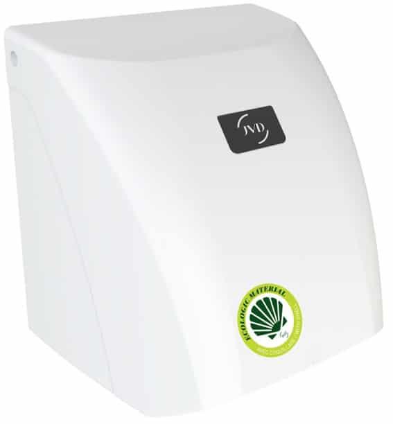 Le sèche-mains blanc à air chaud Zéphyr Bio de JVD